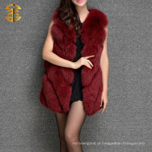 Autumn New Fox Fur Vest Mulheres Elegante Real Full Pelt Fox Fur Gilet