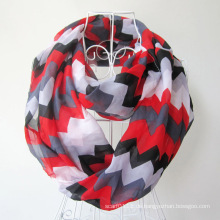 Frau Mode Welle gedruckt Polyester Chiffon Infinity Schal (YKY1099)