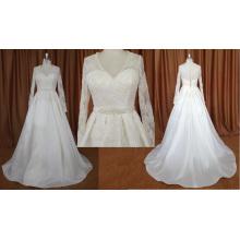 Long Sleeve Stain Wedding Dress