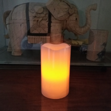 Nice soft orange glow light led pillar candle with real wax