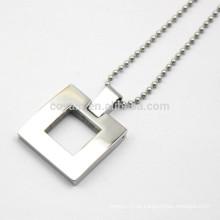 Unisex Hollow Out Metall Silber Quadrat Anhänger Halskette