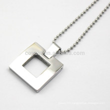 Unisex Hollow Out Metal Silver Square Pendant Necklace