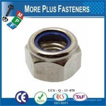 Fabricado en Taiwán Tuerca de bloqueo de inserción de nylon DIN 985 ISO 7040 Tuerca de bloqueo de inserto de nylon ANSI B ASME B18 16 6