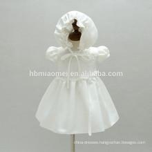 High Quality Baby Girls Christening Birthday Dress Infants Baptism Dress with Hat