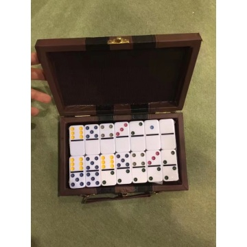 High quality OEM Plastic Dominoes Game In Leather Box