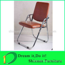 2014 best selling popular chromed legs leather foldable chair 110