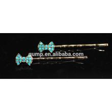 2015 Netter blauer Bogen-glänzender Rhinestone-Bobbystift Kristallbarrette