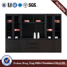 Wooden Glass Doors Office Bookcase Modern Melamine Office Furniture (HX-FD014)