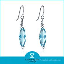 Charm Aqua CZ Boucles d'oreilles pendentif en argent (SH-0217E)