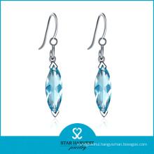Charm Aqua CZ Silver Jewelry Hook Earring (SH-0217E)