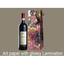Fancy Stocked Printing Flower Kraft Paper Wine Bag