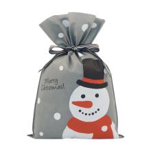 Sacos de cordão não tecidos cinzentos do Natal do boneco de neve