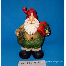 Papai Noel com grinalda e presentes para decoração de natal