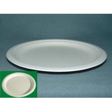 Plateau rond à plaque ronde de 10 po (plaque de canne à sucre) (large bordure) Plaque de fibre de canne à sucre