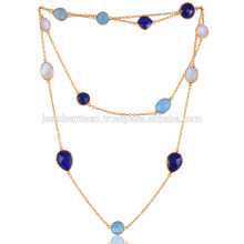 Blauer Onyx, Lapis, Regenbogen und vergoldeter Halskette