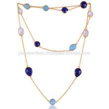 Blue Onyx, lapis, arc-en-ciel et collier plaqué or
