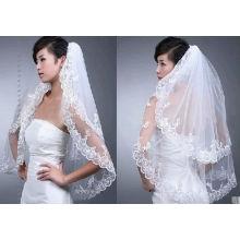 White Cathedral Wedding Bridal Applique Voile Edge véu de casamento com pente