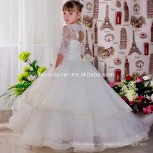 Vestido de fiesta de princesa de encaje de manga larga blanco Vestido de fiesta de niña de puffy vestido de fiesta de niños Diseños de vestidos de niños