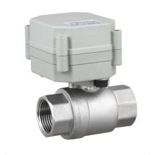 NSF Válvula de bola de agua de acero inoxidable motorizada eléctrica de 2 vías Válvula de flujo del motor (T20-S2-A)