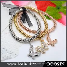 Moda jóias de ouro / prata corda de cânhamo pulseira de metal # 31477