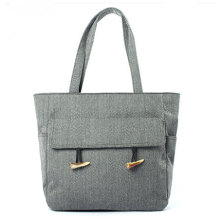 Fashion Lady Zipper Jute Tote Bag Handbag