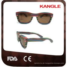 2017 viele Farben China Fabrik Skateboard Holz Sonnenbrille