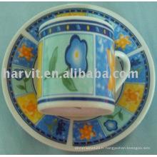 Tasse à café décorative en céramique 90CC et soucoupe