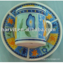 90CC ceramic decorative coffee cup and saucer