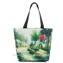 2017 wholesale canvas cosmetic bag digital landscape printing women big shopping bags beach canvas bag CB03