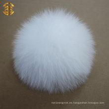 Blanco 10-11cm pom pom blanco de pom de piel de la venta al por mayor de la alta calidad del pom del pom de la piel