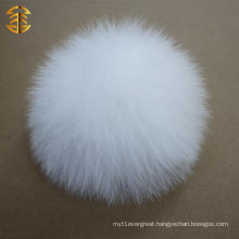 White 10-11cm nice white fur pom pom high quality wholesale fox fur ball sale pompoms
