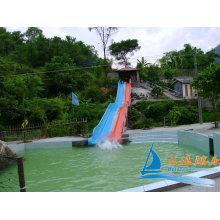 Commercial Outdoor Kids Play 7m Rainbow Fiberglass Water Slides For Racing