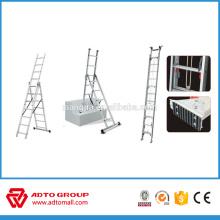 Escalera extendida de 3 secciones, escalera de aluminio industrial, escalera combinada