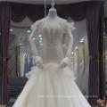 2018 Elegante V-Ausschnitt Lace Up Meerjungfrau Hochzeitskleid Brautkleid mit schweren Perlen