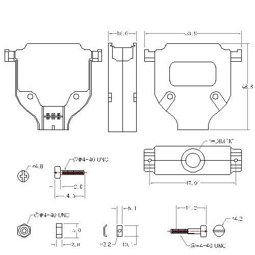 DBZU-25XX1 3 D-SUB METAL HOODS,25P,U TYPE, SHORT SCREW