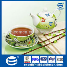 color box packing green colored background cat with butterfly pattern porcelain cup and pot set