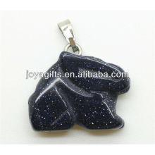 Colgante de conejo de piedra de oro semi precioso azul con alta calidad