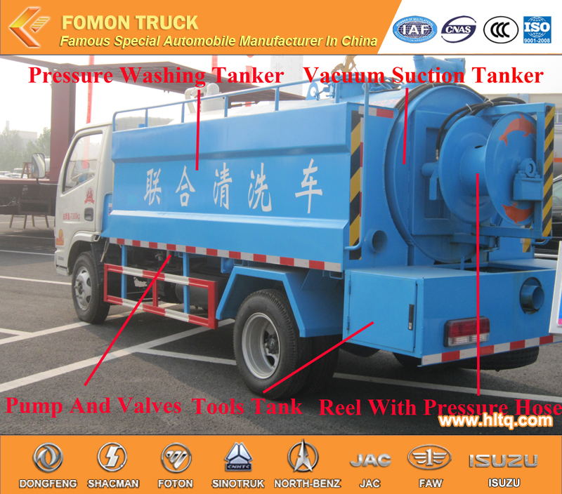 vacuum suction and pressure washing truck