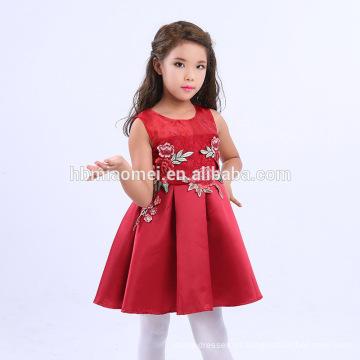 Nova Moda Moderna Crianças Flor Menina Vestidos Estilo Chinês Bordado Design Baby Girl Fantasia Frots 2017