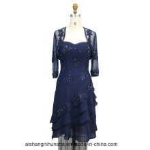 Women Chiffon Beading Jacket Evening Party Prom Dress