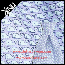 Tela de seda italiana al por mayor de la ballena de la impresión de pantalla de la mano para la corbata