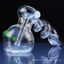 Enrouleur en spirale en verre pour fumée avec verre cristallin (ES-HP-081)