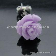 10mm Dyed Coral Carved Amethyst Rose Flower Stud Earring EF-009
