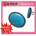 anéis de turquesa artesanal grande pedra azul de crochê