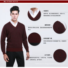Yak Wool/Cashmere V Neck Pullover Long Sleeve Sweater/ Garment/Clothing/Knitwear