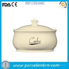 Хороший Китай Белый керамический торт Jar