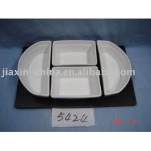 Snacks de porcelana con soporte de madera JX-BS5824