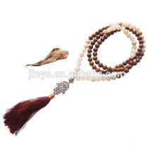108 Yoga Gemstone Wooden Tassel Hamsa Prayer Beaded Mala Necklace