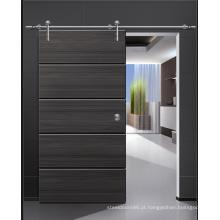 Porta de madeira preta do MDF do projeto moderno do brilho, porta deslizante da madeira maciça