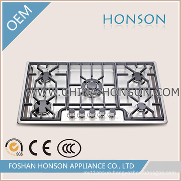 5 Burnres Built in Cast Iron Support Gas Cooker Hob